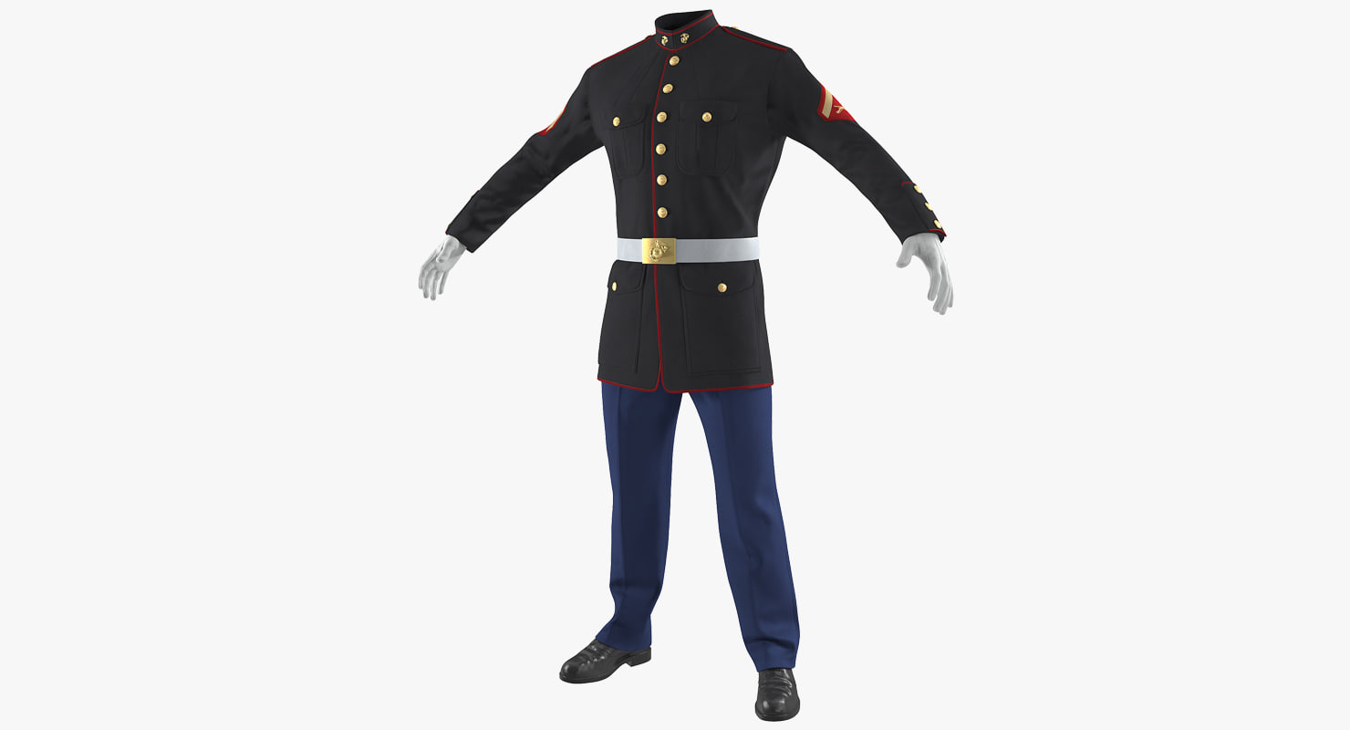 3D usmc marine officer uniform model