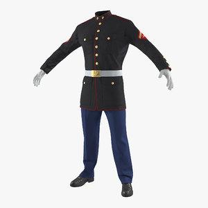 3D usmc marine officer uniform model