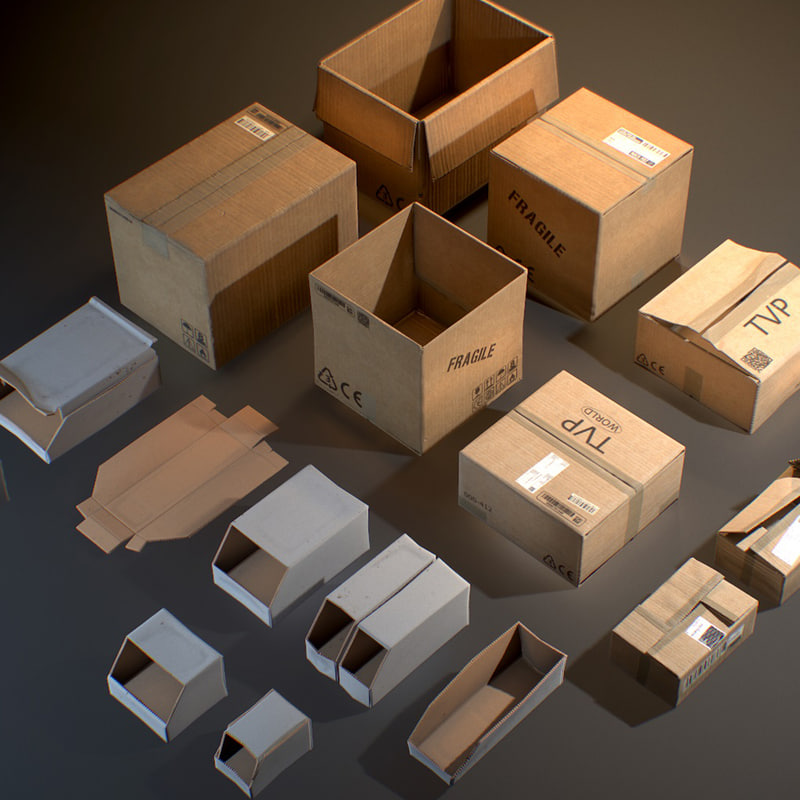 3D cardboard boxes - ready