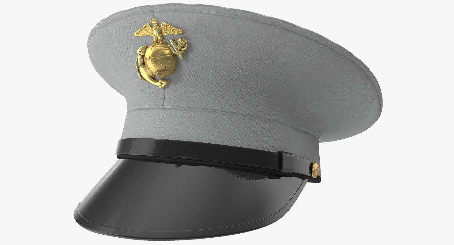 usmc marine officer hat 3D model