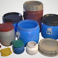 3D model plastic barrels - ready