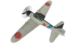 3D model ww2 mitsubishi a6m zero