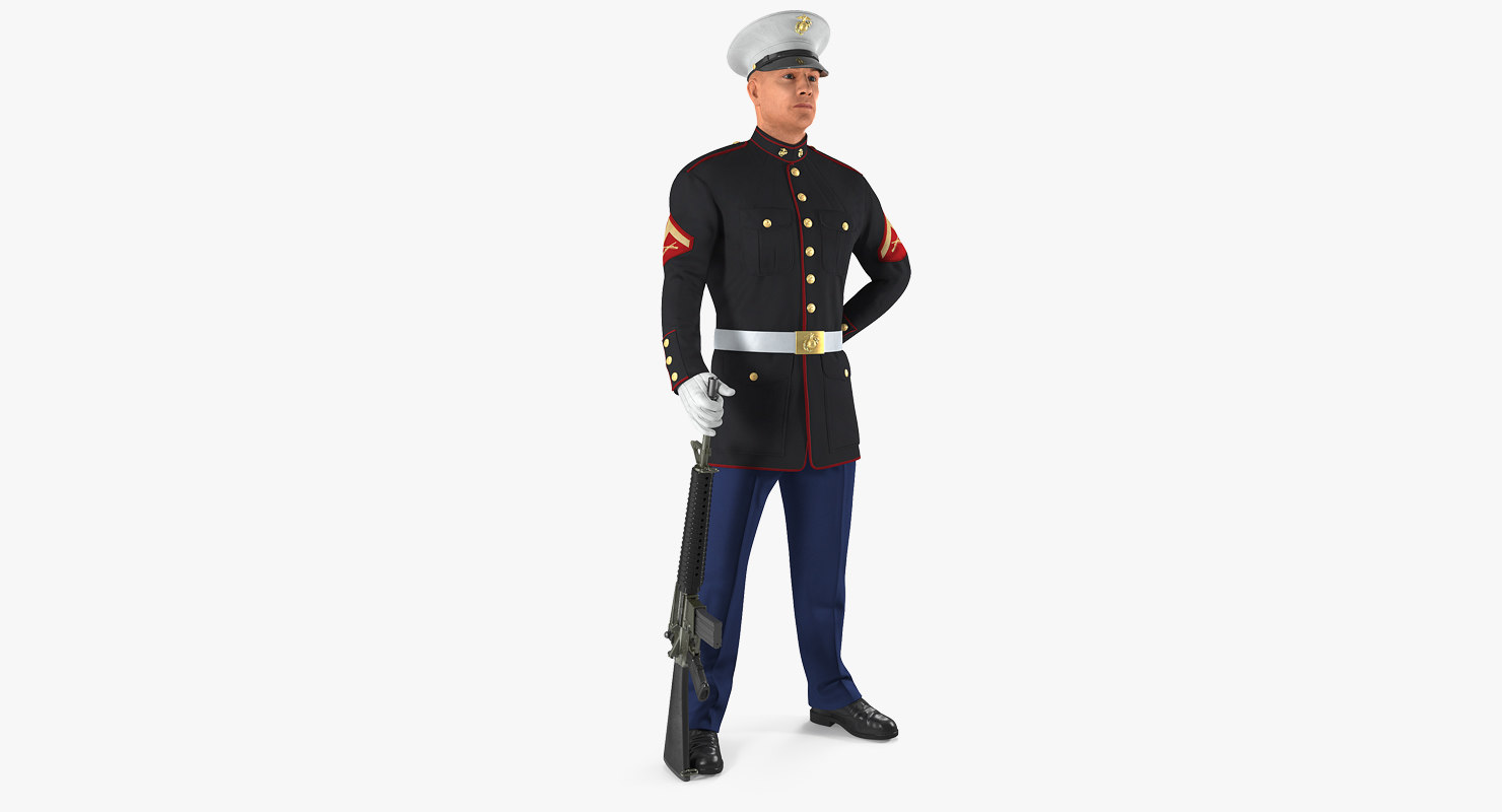3D marine corps soldier parade