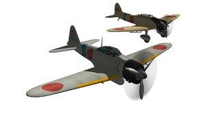ijn fighter a6m zero 3D model