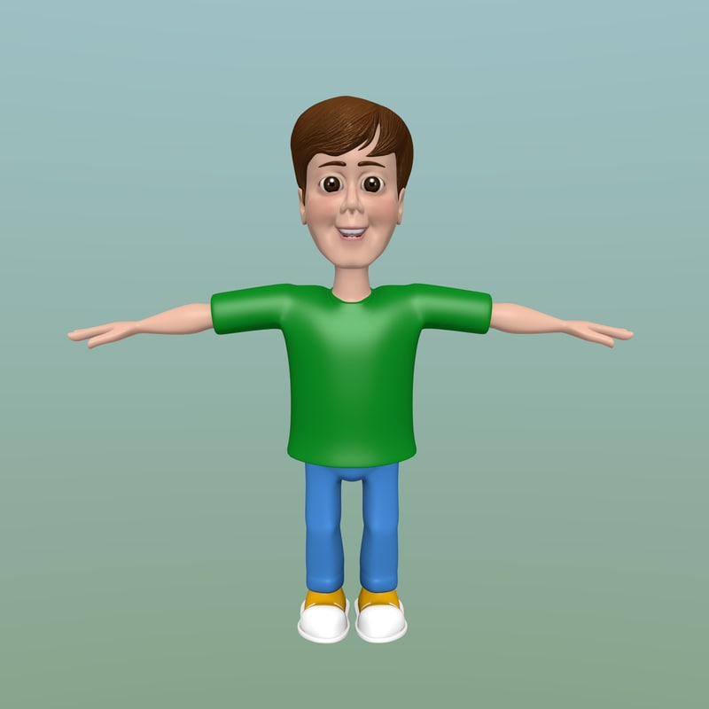 cartoon kid rigged 3D model