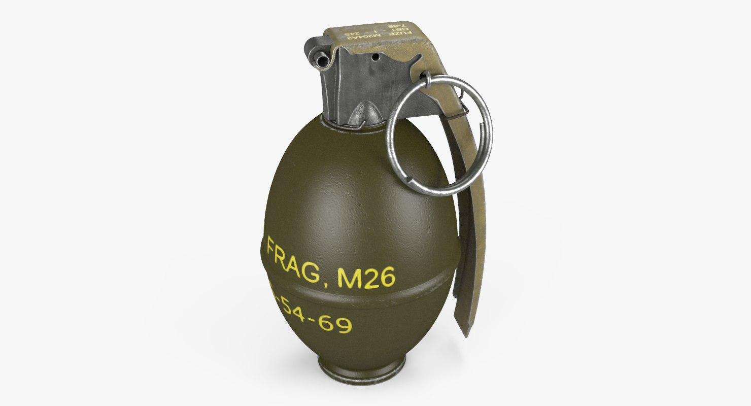 3D m26 hand grenade lemon