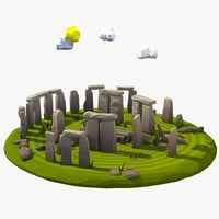 cartoon stonehenge circle model