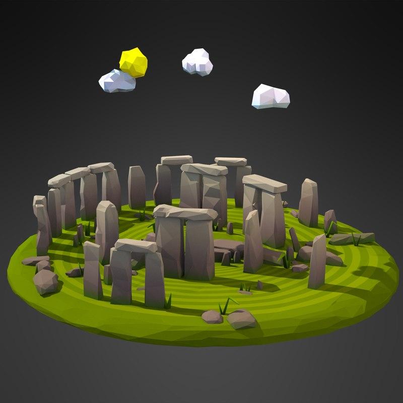 cartoon stonehenge circle model