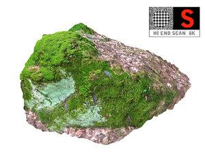 3D moss rock 8k model