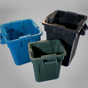 3D plastic trash bin -