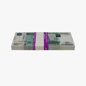 3D bank 1000 russian roubles model