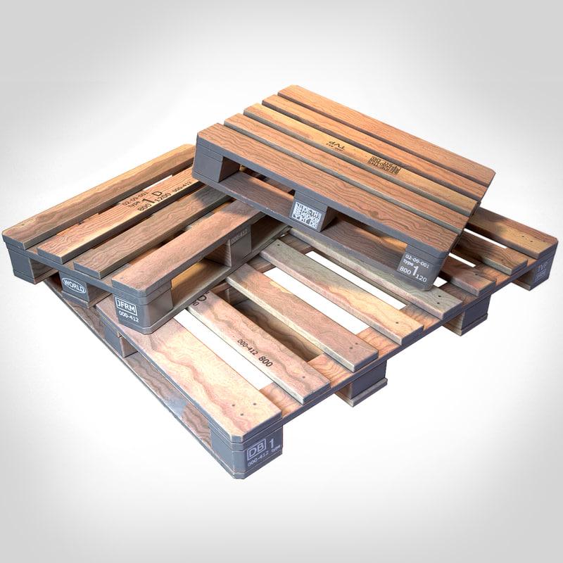 3D model warehouse wooden pallet -