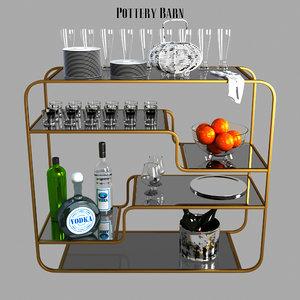3D antiques bar console