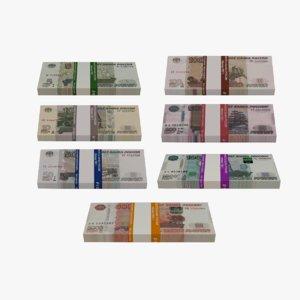 3D model bank bundles russian banknotes