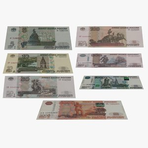 5 russian banknotes 3D