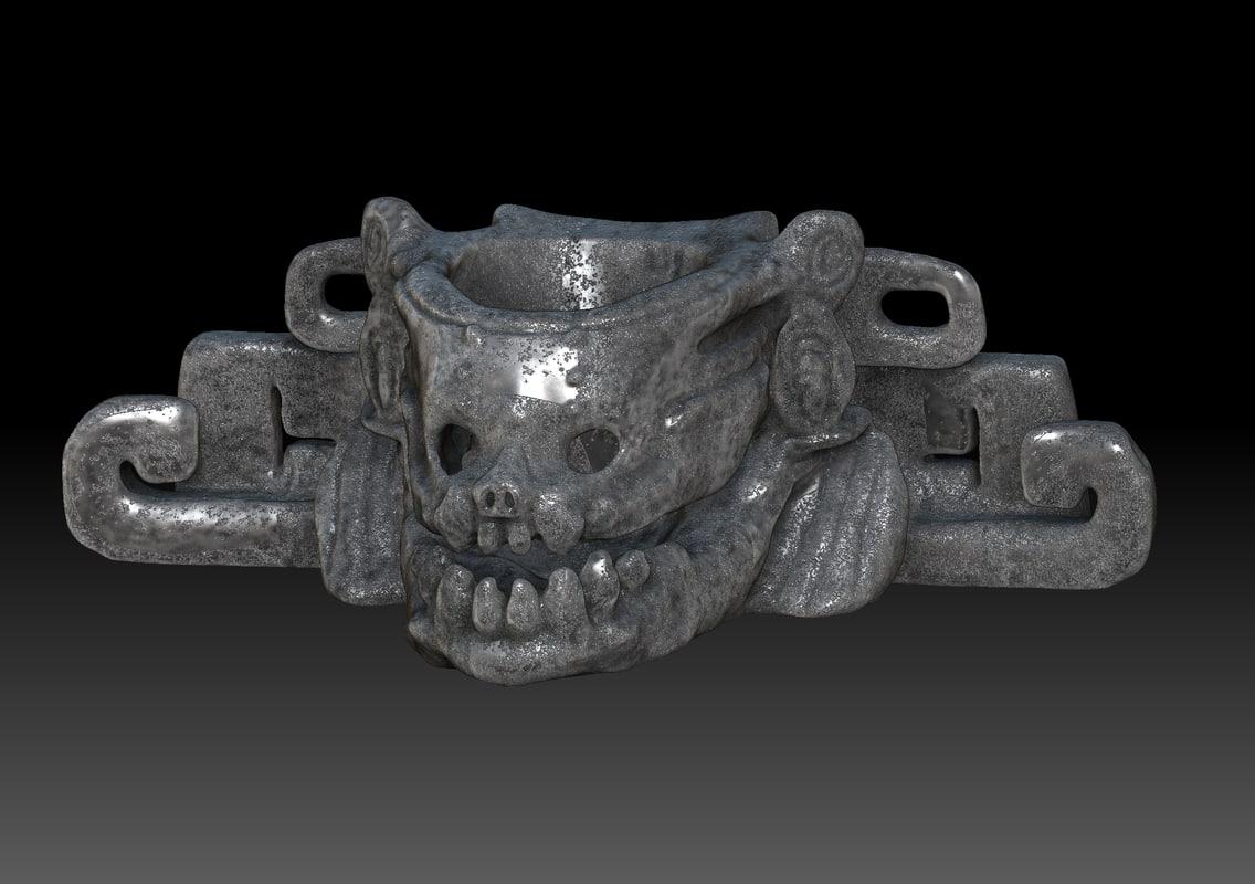3D model skull mayan art