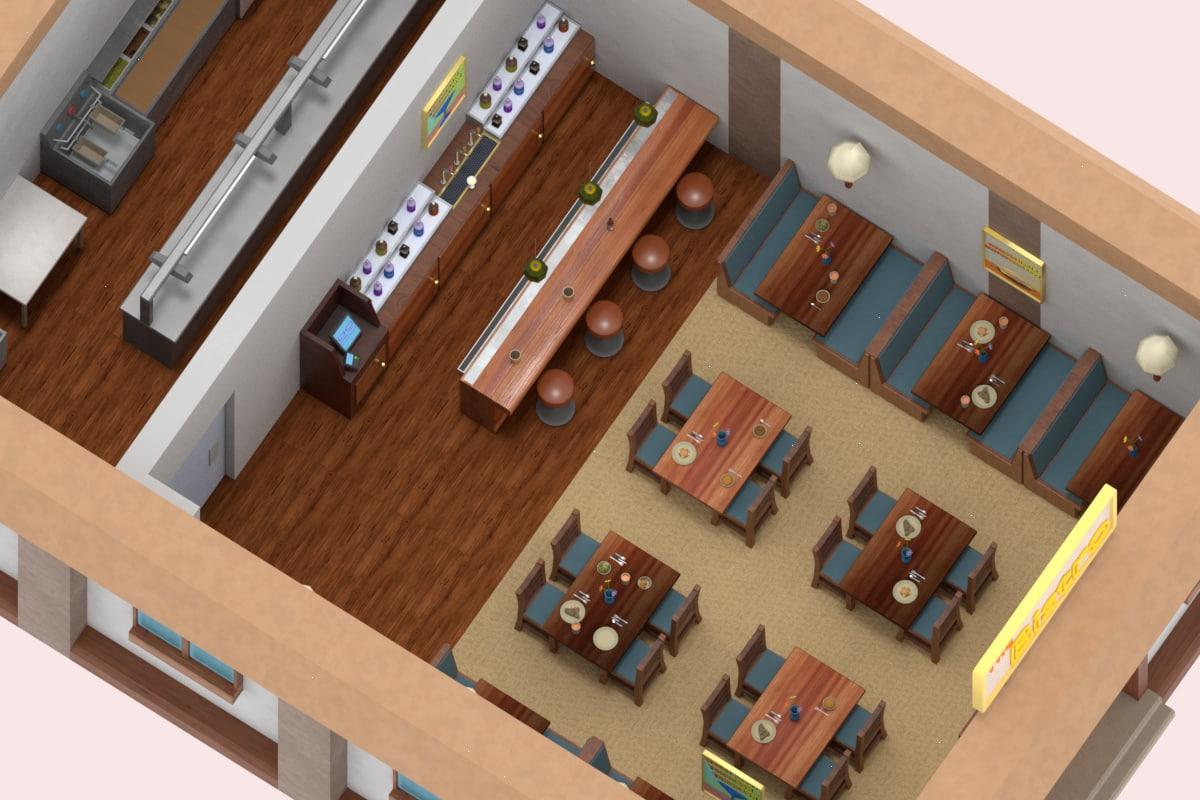 restaurant bar low-poly 3D model