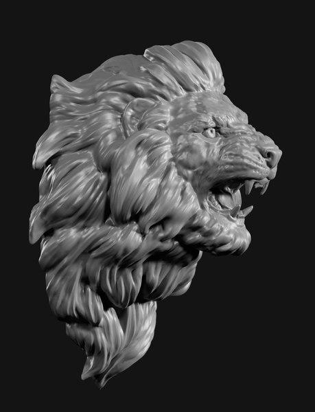 lion head face 3D