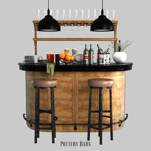 3D lawrence demilune bar cabinet model