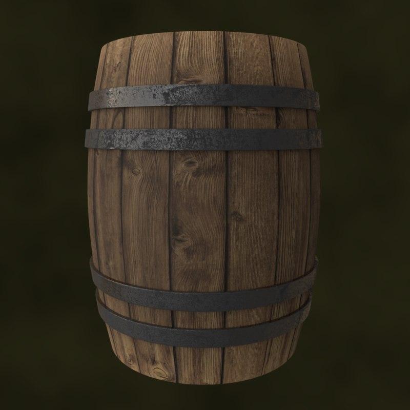barrel wood metal 3D model
