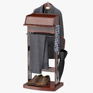 3D model mens suit brown wood