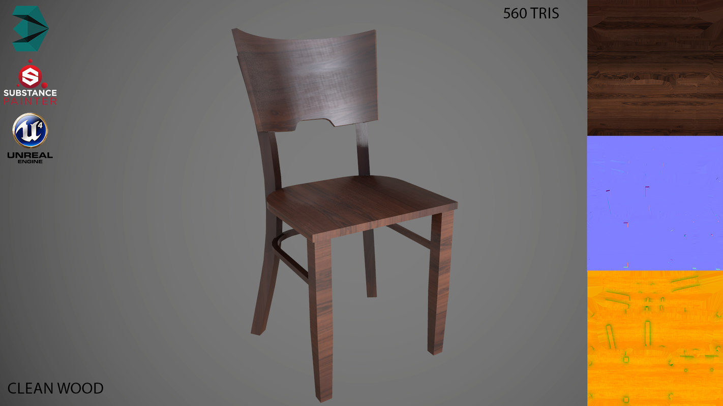 chair low-poly clean 3D model