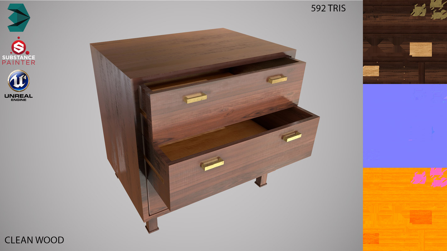 dresser low-poly clean 3D