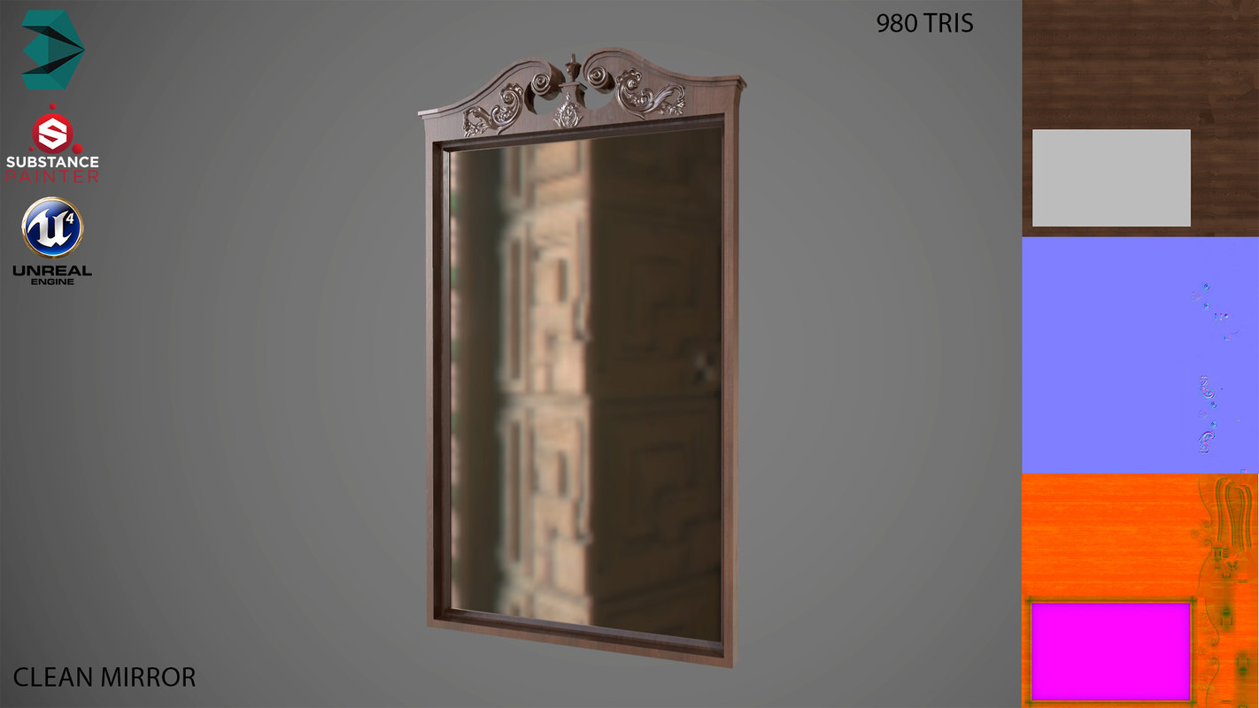 3D mirror low-poly clean