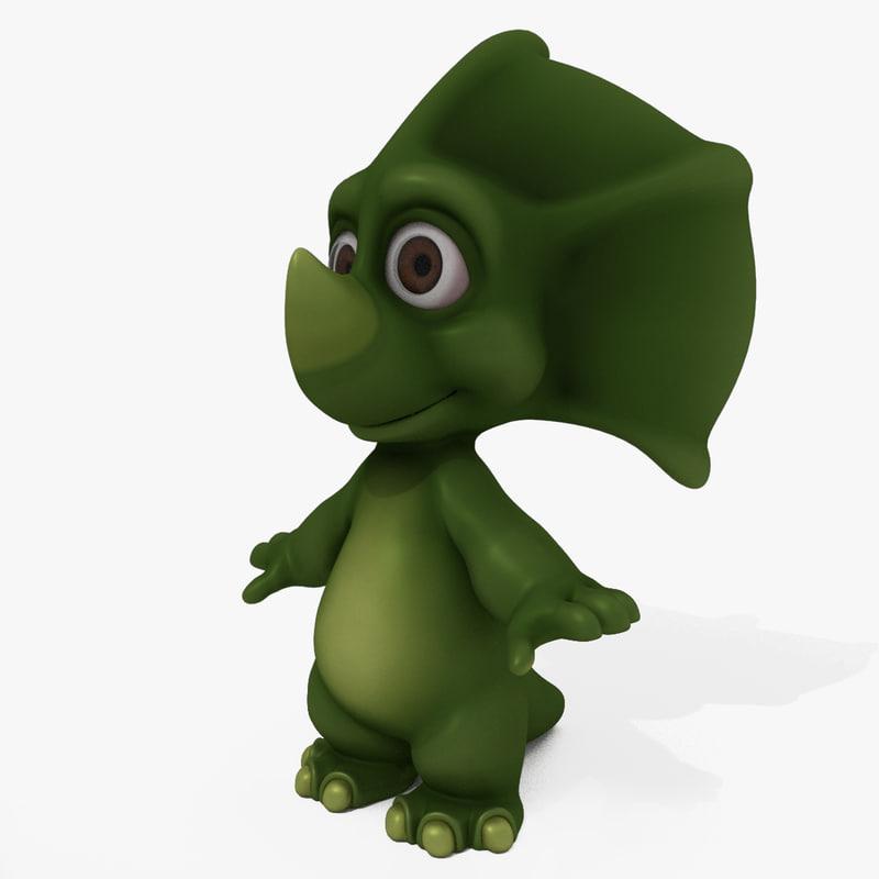3D triceratops cartoon model