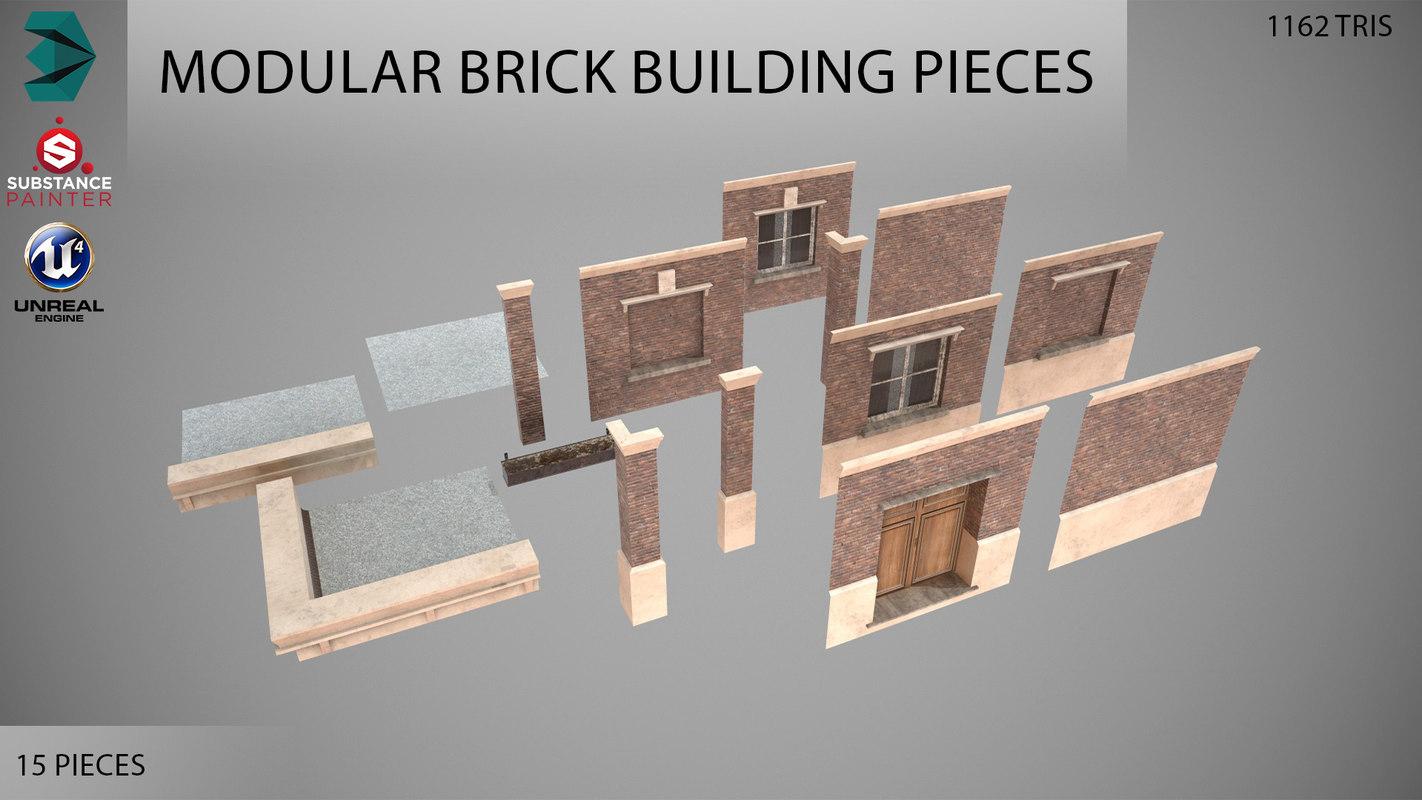 3D modular brick building pieces