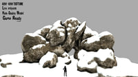 3D rock cave snow
