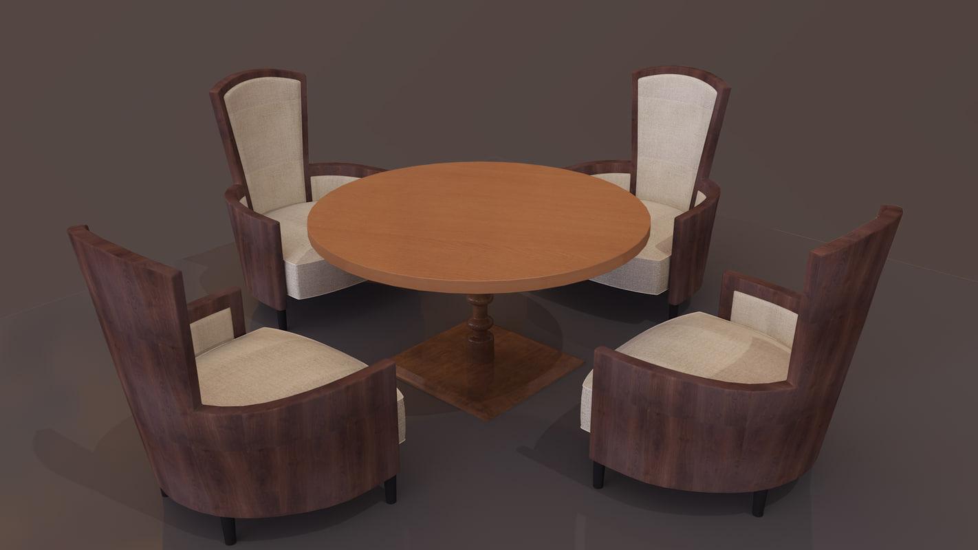 chair table cafe 3D