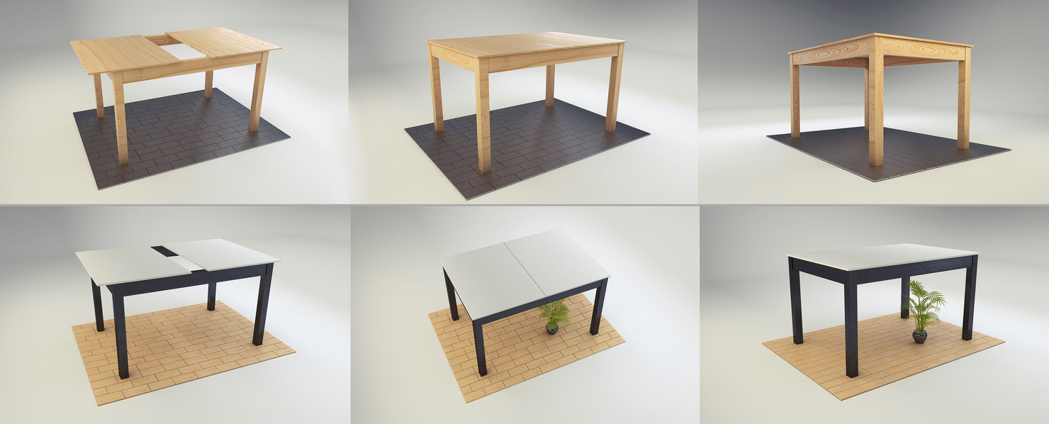 3D table white black
