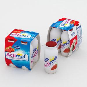 actimel strawberry 3D model