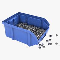 Plastic Storage Bin With Nuts