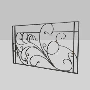 art nouveau railing 3D model