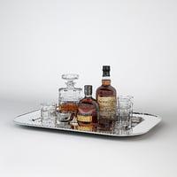3D service silver tray bottles model