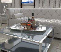 Service Silver Tray With Bottles