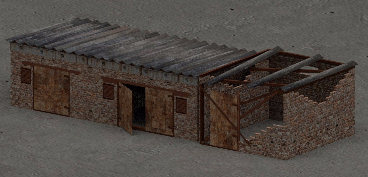 3D damaged ruined building model