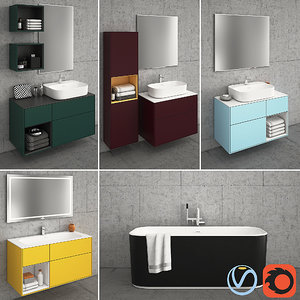 3D model bathroom furniture finion color