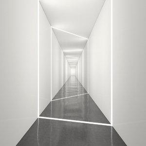 3D hallway light realistic model