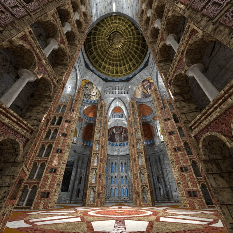 3D byzantine cathedral interior exterior