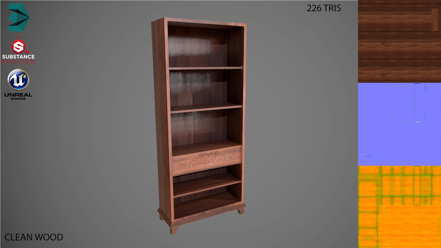 3D shelf low-poly clean model