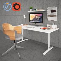 ikea bekant desk fjallberget 3D