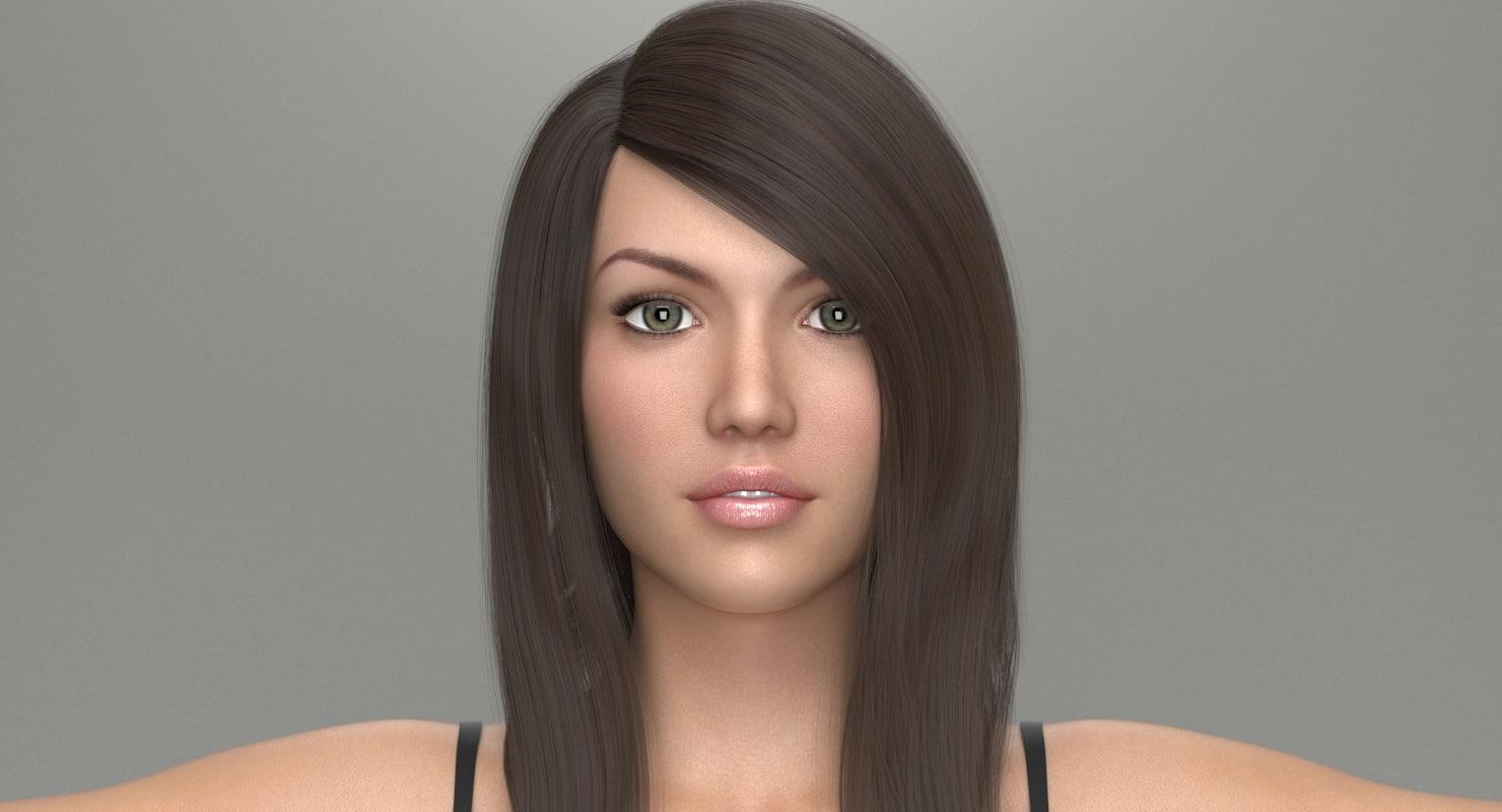 female hair doris 3D model