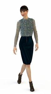 3D model suit blouse skirt