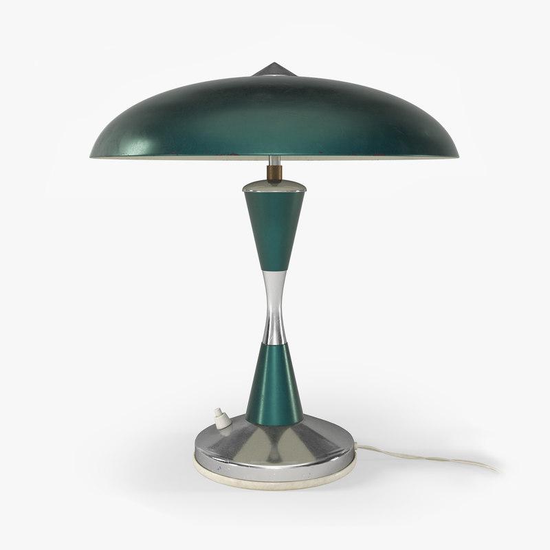 3D 1970s desk lamp green metal