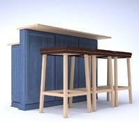 bar counter 3D model