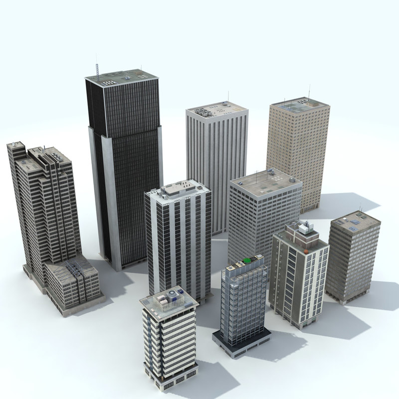 office buildings - modeled 3D model