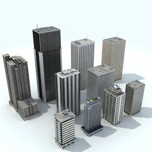 office buildings - modeled 3D model